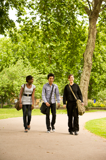 Students taking a walk in the park